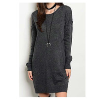 """Style and Flare"" Scoop Neck Long Charcoal Grey Sweater Dress Top"