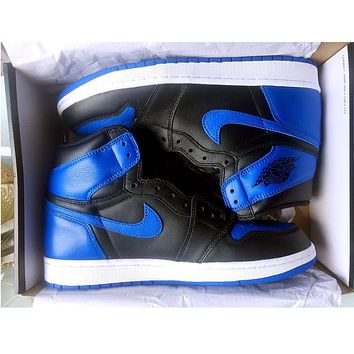 Nike Air Jordan Retro 1 Black-Blue Red Contrast Sports shoes High Tops