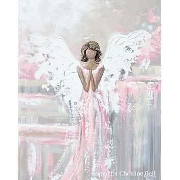 """SPECIAL RELEASE GICLEE PRINT """"She's With You"""" Abstract Angel Painting Guardian Angel Pink"""
