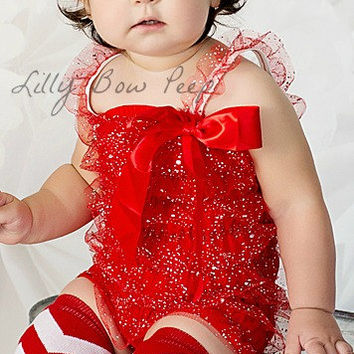 Red Glitter Lace Petti Romper-Baby Girl Clothes-Christmas Outfit-Preemie-Newborn-Infant-Child-Baby Clothing-Chic-Wedding-Baptism-Holiday