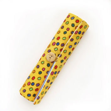 Pencil Case Yellow Left-handed, Colorful Bugs Pencil Roll Holder, Back to School Organizer
