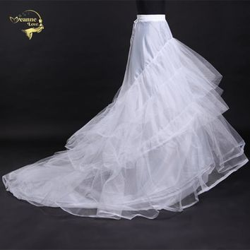 Novia Enaguas Underskirt Wedding Skirt Slip Wedding Accessories Chemise  2 two Hoops For A Line Train Dress Petticoat Crinoline