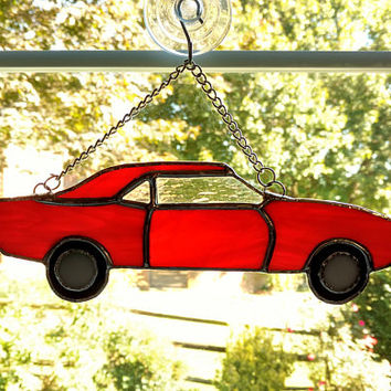 Stained Glass Car Suncatcher, 1969 Camaro, Red Car, Car Art, Glass Car, Muscle Car, Classic Car Ornament, Car Lover Gift, Man Cave Decor