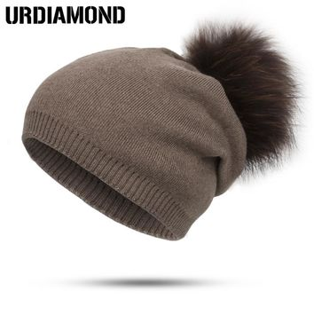 2017 New Brand Fashion Winter Hat For Women Skullies Beanies Hair Ball Cap Plus Cashmere Warm Hat Thicker Knitted Hat