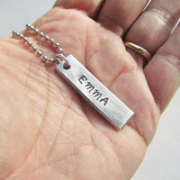 Necklace Name 1 Tag Hand Stamped Jewelry Charm Aluminum Personalized Stainless Steel Chain Kids Names Dad Mom