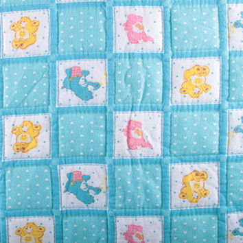 Care Bear Blanket, Patchwork, Quilt, Blue, Large, Vintage, Super Soft, Blue, Figures, Comfy ~ The Pink Room ~ 170216