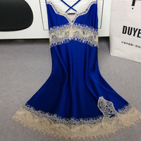 sexy female lace sleepwear dress home clothing nightwear silk nightgown suspender ladies pijamas satin backless plus size suits