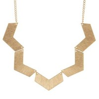 Gold Brushed Chevron Collar Necklace by Charlotte Russe