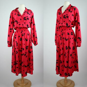 1980's red dress w black floral 80's print long sleeves elastic waist button up shirt waist gown w full maxi skirt plus size XXL 14