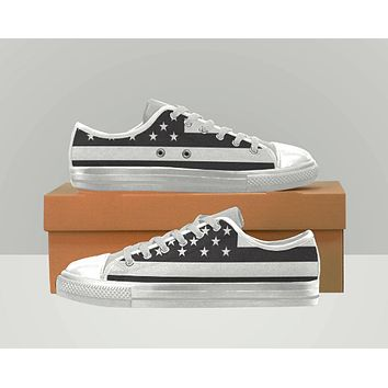 American Flag Shoes Vanns Type Canvas Shoes Converse Type  Black and White Womens or Mens Shoes