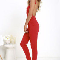 Jump Start Red Jumpsuit