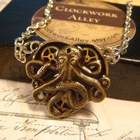 Small Clockwork Gears and Octopus Heart Steampunk Necklace (1751)