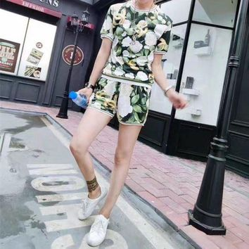 DCCKH3L Chanel' Women Casual Fashion Letter Multicolor Flower Print Short Sleeve Shorts Set Two-Piece Sportswear