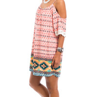Capri Breeze Printed Cold Shoulder Dress