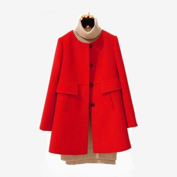Wool Coat Size Women's Jackets And Coats Warm Female Overcoat