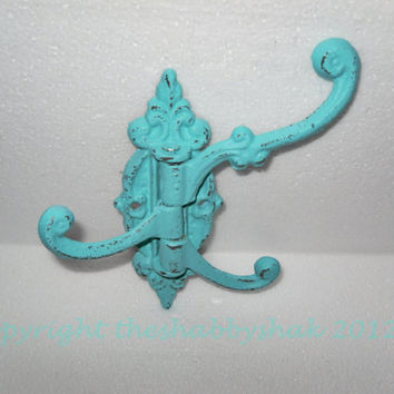 Metal Hook / Wall Hook / French Cottage / Teal Blue / Mud Room /Towel Hook/ Bath hook / Ornate Wall Hook /  3 Hook Swivel/ Swing Hook
