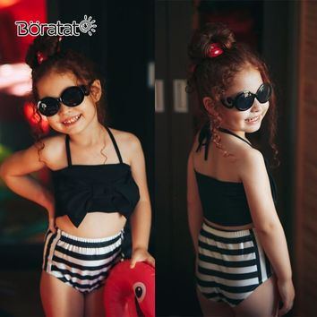 Two-piece Swimsuit Set Baby Girl Bikini Swimwear Solid Wire Free Girls Mid Waist Sling Bow Bikini Swimming Suit for Kid