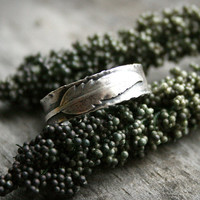 Sterling Silver Feather Ring - Handcrafted Ring With a Rustic and Textured Finish - Little Feather