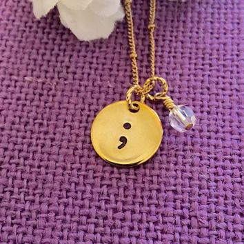 Semicolon Necklace - Brass Gold Necklace - Suicide Awareness - Semicolon Jewelry - Awareness - Depression
