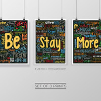 Set of 3 Typography Motivational Inspirational Art Quotes Prints Poster