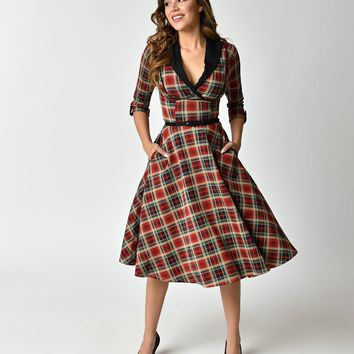Unique Vintage 1950s Style Red Plaid Three-Quarter Sleeve Trudy Swing Dress