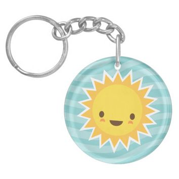 Cute kawaii sun cartoon character on blue Single-Sided round acrylic keychain