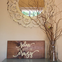 Relax Wood Sign - Hand Painted Wood Sign - Wood Wall Decor - Rustic Decor - Farmhouse Decor - Housewarming Gift - Gift For Mom