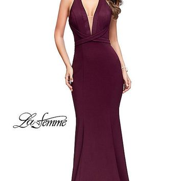 La Femme Long V-Neck Prom Dress