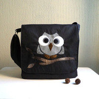 Messenger bag.Owl Applique.Rocko.Very Dark and shimmer grey casimir and plaid grey cotton.Ready To Ship.