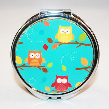 Owl Compact Mirror  -  Stocking Stuffer