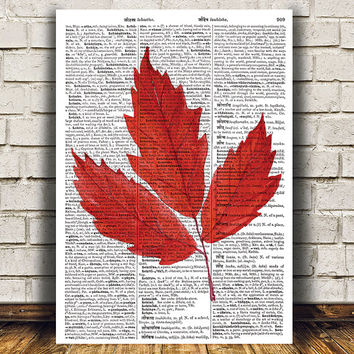 Fall poster Autumn leaf print Watercolor print Leaf decor RTA1613