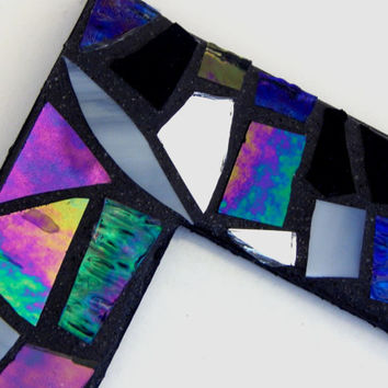 "Mosaic Picture Frame, 4"" x 6"", Iridescent + Textured Glass, Handmade Stained Glass Mosaic Design"