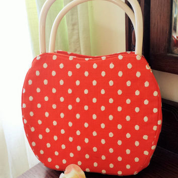 Vintage 1960s Polkadot Morris Moskowitz Purse / 60s HandBag / Morris Moskowitz Purse / Vintage Hand Bag / Red and White Bag / Vintage Purse