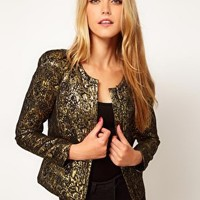 ASOS Gold Jacquard Jacket at asos.com