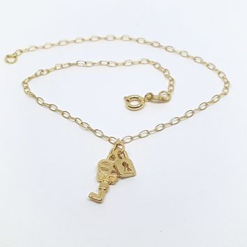 1-0151-h2 Gold Overlay Lock and Key Charm Anklet, 10""