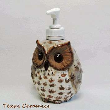 Small Ceramic Owl Pump Dispenser For Soap or Lotion