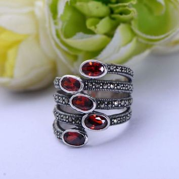 Natural Red Garnet Stone  Sterling Silver Jewelry Marcasite Multi Layer Ring