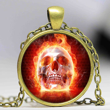 Fire Skull Necklace Glass Cabochon Skeleton Pendant Day of the Dead Movie Necklace Handmade Gothic Sugar Skull Jewelry Silver