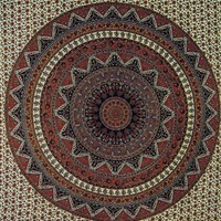 Giant Wall Tapestry ~ Brown India Circle ~ Approx 7.5 x 8.25 Ft