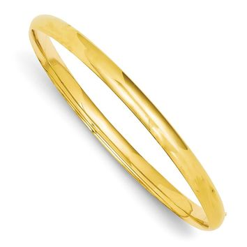 14k Yellow Gold 3/16 Oversize High Polished Hinged Bangle Bracelet