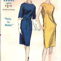 Vintage Vogue 6078 Sewing Pattern Retro 60s Mad Men Style Dress Slim Fit Straight Skirt Casual Bust 34