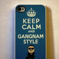 (301wi4) Blue Keep Calm and Gangnam Style Apple iPhone 4 / 4S BLUE Case