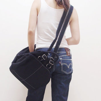 Christmas in July Sale - KINIES ESSENTIAL in Black  -  Multipurpose Backpack / Shoulder bag / Cross Body / Tote