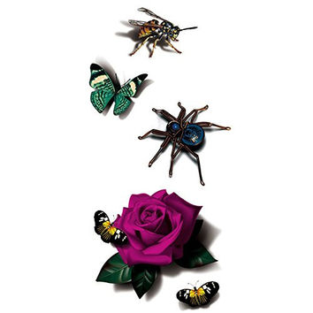TAFLY 3D Look Real Insect Butterfly Reptile Body Art Temporary Tattoos 5 Sheets