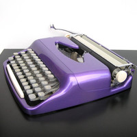 Typewriter very good working condition metallic glittery purple lilac violet retro writing new ribbon scandinavian layout