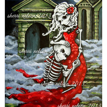 Romantic Gothic Art Print. Skeleton Couple. Gothic Wedding gift. Graveyard Valentine. Day of the Dead Poster La Catrina Tattoo. Forever Love