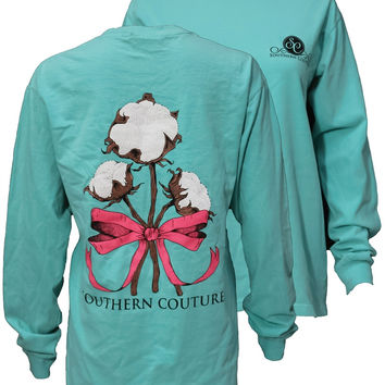 Southern Couture Cotton Ribbon Bow Chalky Mint Long Sleeves T-Shirt