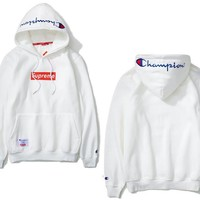 The embroidery Champion's champion cotton long sleeve and hooded hoodie coat sweater WHITE