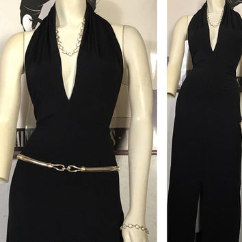 Vtg 1970s GOTTEX Black Halter Maxi Dress / Sophisticated Elegant Evening Gown / Old Hollywood Glam Dress / Sexy Deep V Neckline & Front Slit