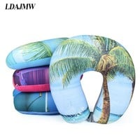 U Shaped Travel Pillow Cushion pillow for Neck Protable Car Head Neck Plane Nap Rest Neck Back Flocking Healthcare Pillow